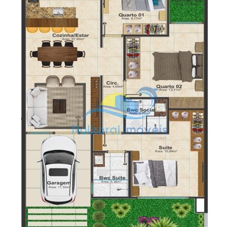 353 - Casa Térrea - 1 suíte + 2 quartos - Área de fundos - Planta Humanizada Casa Térra